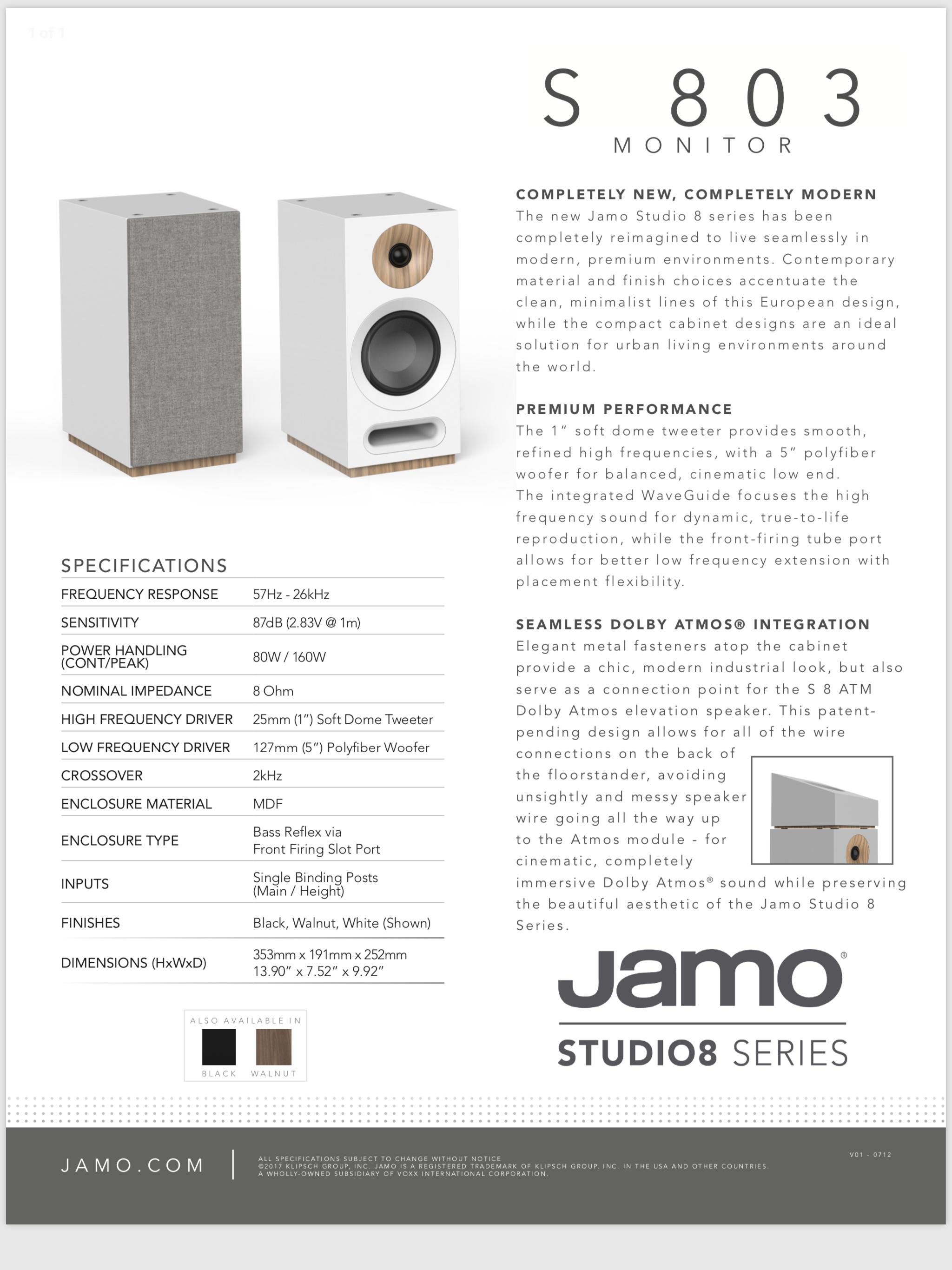 """JAMO S 803 bookshelf speaker features a 1"""" soft dome tweeter"""