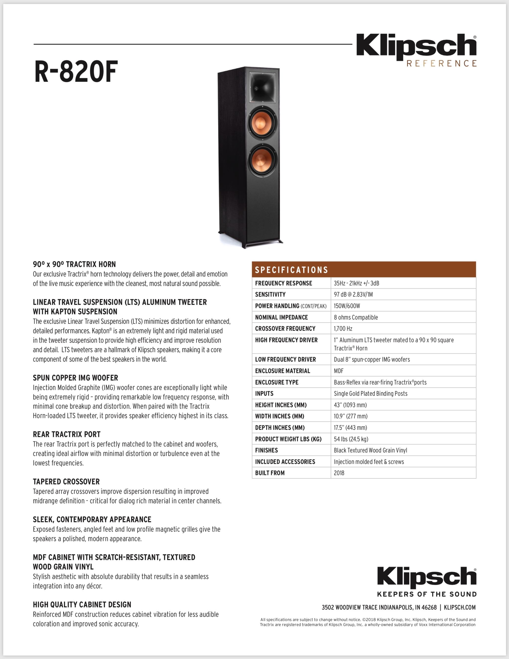 Αποτέλεσμα εικόνας για KLIPSCH R-820F SPECIFICATIONS